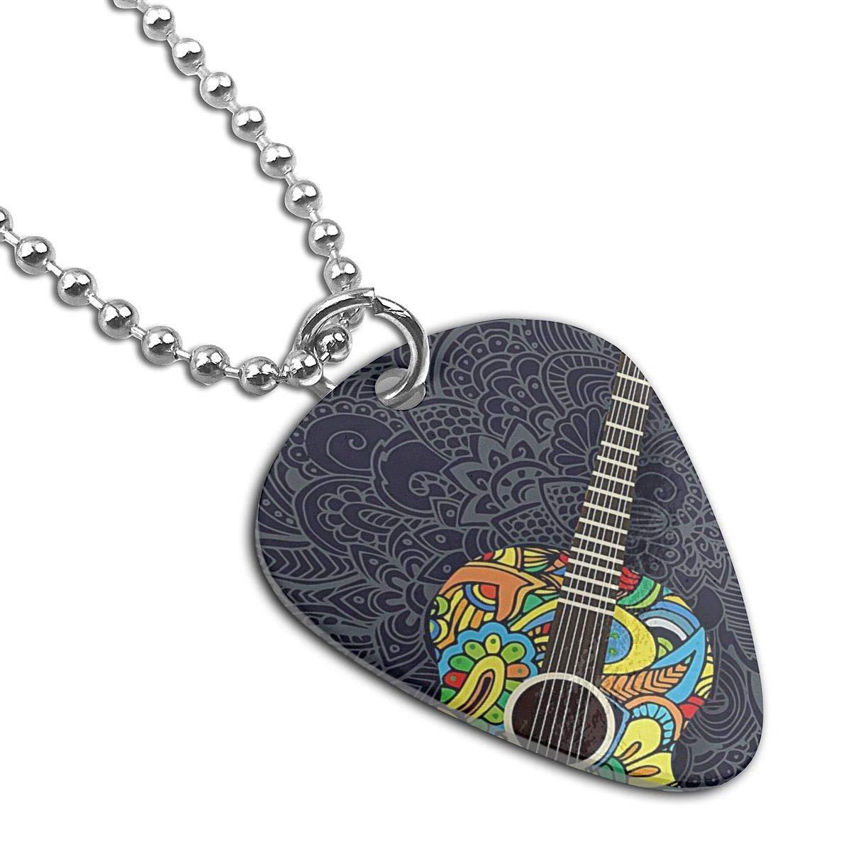 Vintage Guitar Pattern Guitar Pick Necklace Unique Custom Fashion Pet Card Keychain