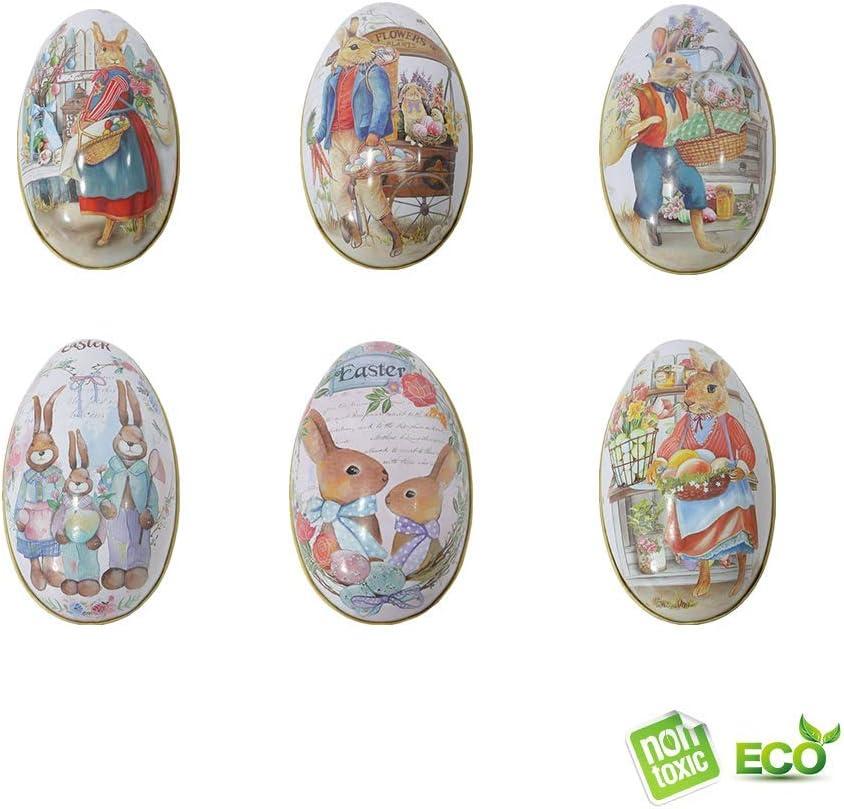 Morbuy Pascua Decoration, Huevos de Pascua Ninos Caja de Dulces Caja de Regalo Manualidades de Bricolaje de Pascua Que Pintan para La Decoración y El Regalo (6PCS)