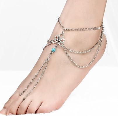 Cheville Cha/îne Boho Plage Pieds nus Sandale Perle charm Cheville Bracele