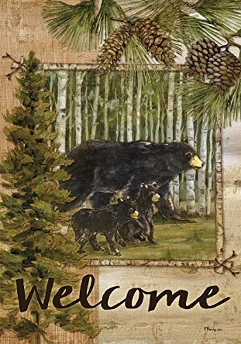 Custom Decor Welcome Bears - Standard Size, Decorative Double Sided, Licensed and Copyrighted Flag - Printed IN USA by Inc. 28 Inch X 40 Inch approx.