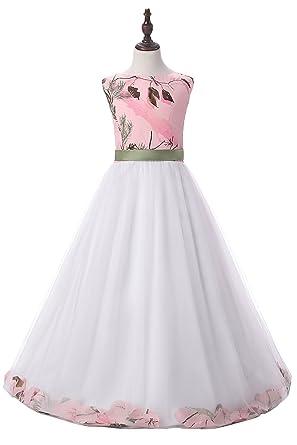 Amazon qy bride flower girl dresses pink camo mini bridesmaid qy bride flower girl dresses pink camo mini bridesmaid gowns child 2 light ivory mightylinksfo