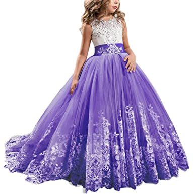 341bcede603f Flower Girl Dress Long Sleeveless Lace Embroidery Princess Pageant Floor  Length Dresses Junior Bridesmaid Wedding Formal