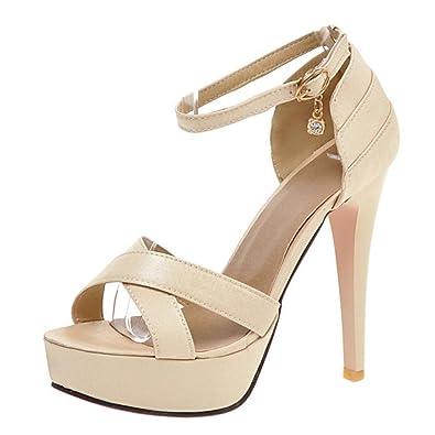 TAOFFEN Damen Sommer Knochelriemchen Sandalen mit Absatz