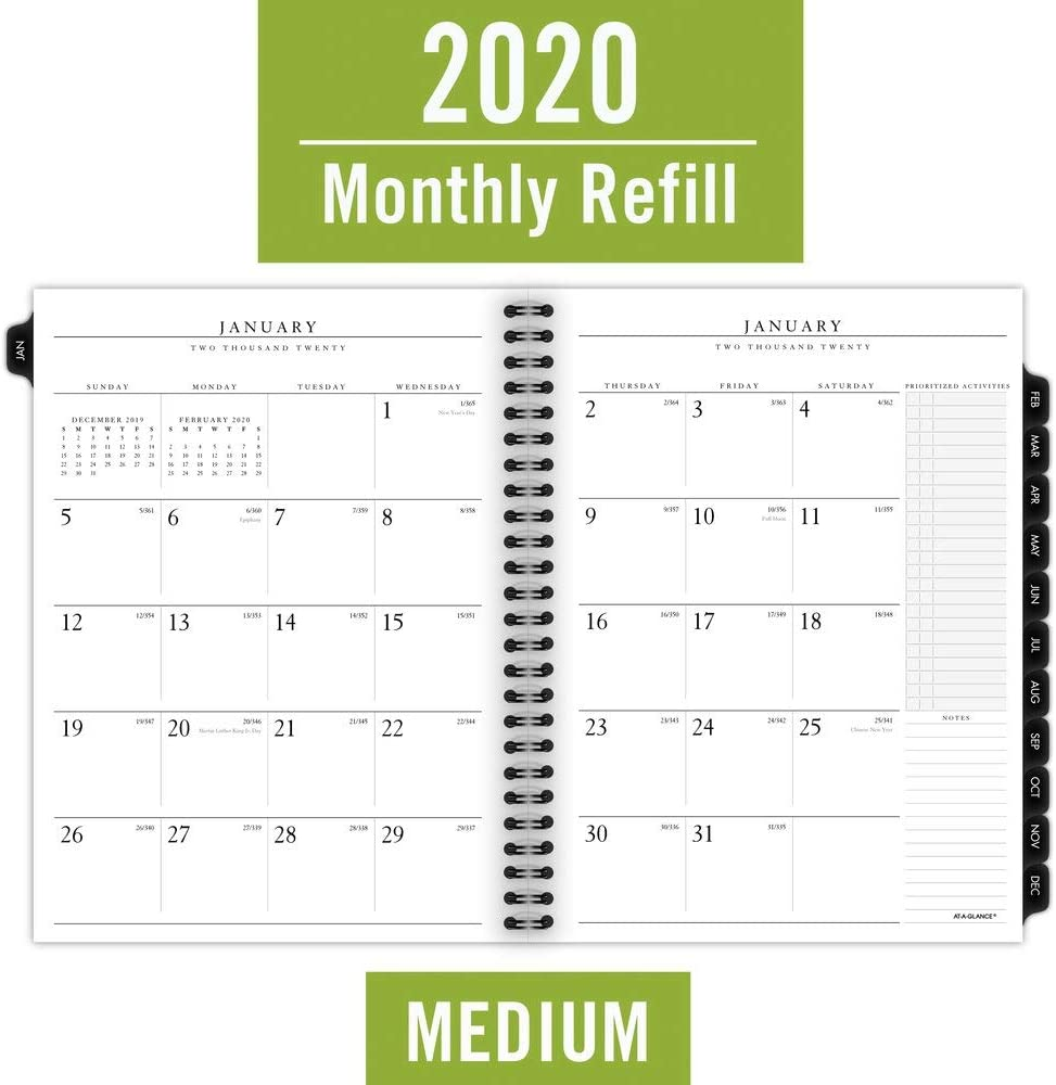 Medium 7091410 Executive AT-A-GLANCE 2020 Monthly Planner Refill Two Pages Per Month 6-1//2 x 8-3//4