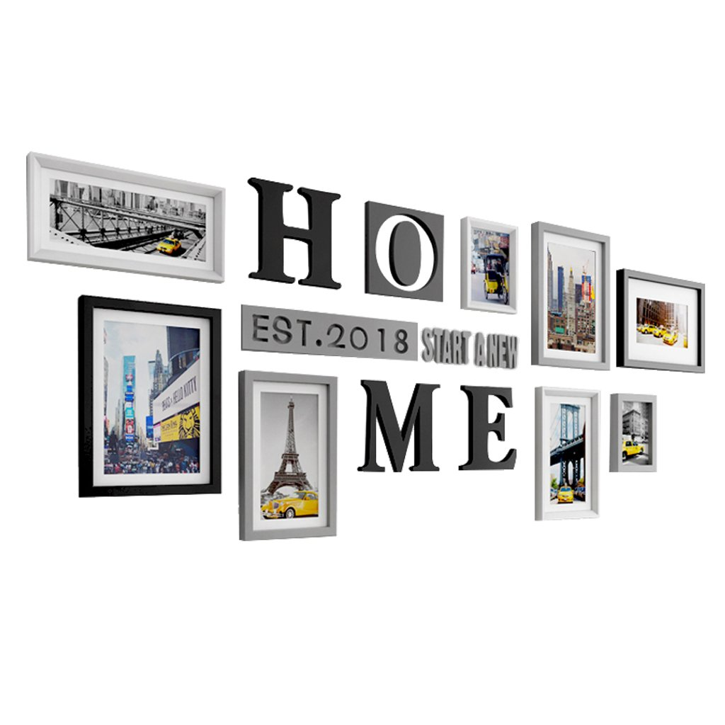 Photo Frame Collage 9 HOEM Letters Wood Multi Picture Frame, Creative Restaurant Background Wall Decoration Northern Europe Home Decoration LONGGANGSHOP