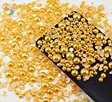 1000pcs Mixed Size 2-10mm Half Round Flatback Imitation Pearls ABS Resin beads (gold)