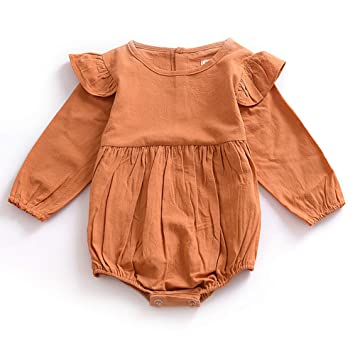0a816bc12c6 YaptheS 1pc Newborn Baby Girls Romper Jumpsuit Infant Toddler Bodysuit  Flutter Ruffled Long Sleeves Outfits Infant