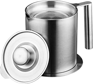 Bacon Grease Container with Strainer Removable Fine mesh Filter oil filter pot for Cooking Oil,colander Stainless Steel (1.2 L/1.3Quart)