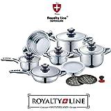 Royalty Line Switzerland Batteria Pentole 16 pezzi Nuova Serie in scatola regalo, ACCIAIO INOX 18/10, PROFESSIONALE RL-16B