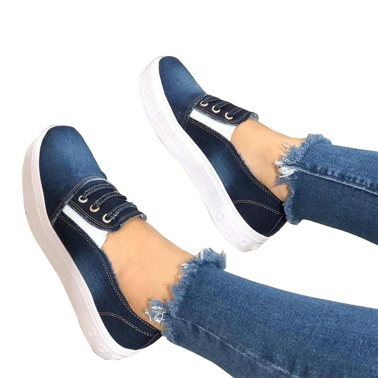 Saralove Women's Casual Sneakers Slip On Canvas Loafer Fashion Lazy Flat Shoes (4 UK,Blue)