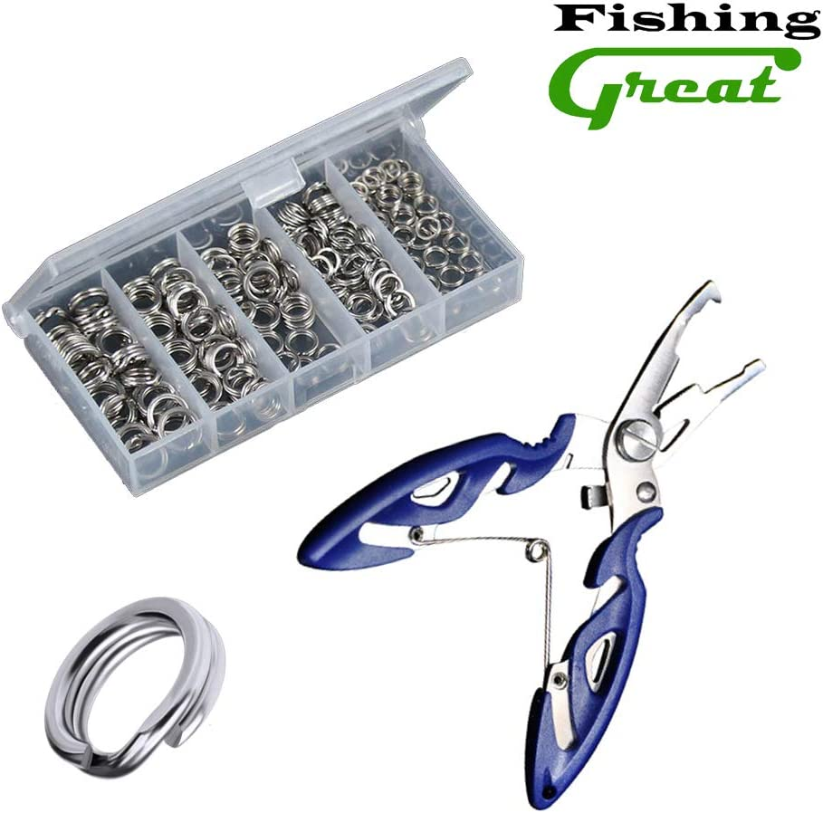 200pcs 5-Size 4-7mm Stainless Steel Split Ring Lure Tackle Connector Fishing