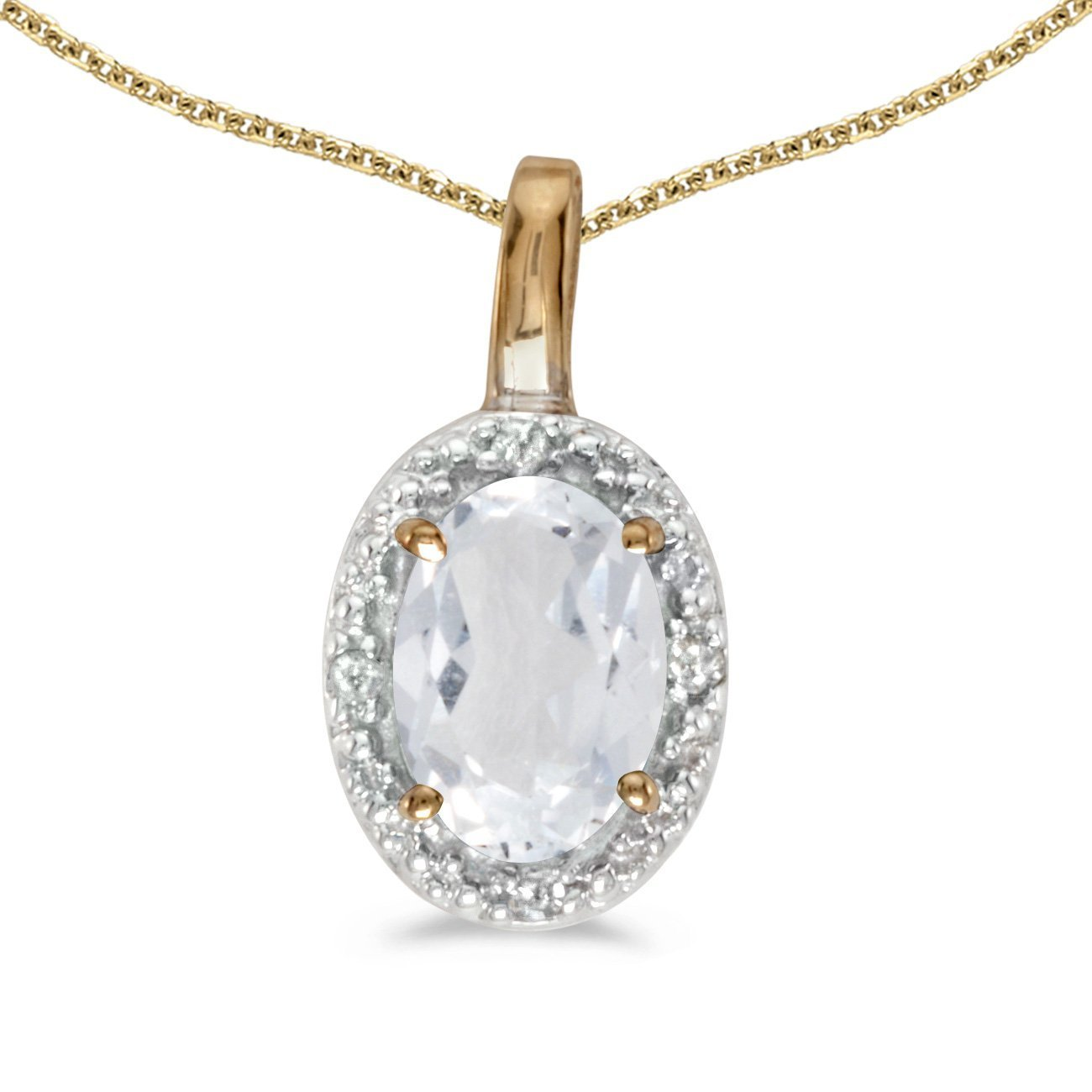 FB Jewels Solid 14k Yellow Gold Genuine Birthstone Oval Gemstone And Diamond Pendant 0.47 Cttw.