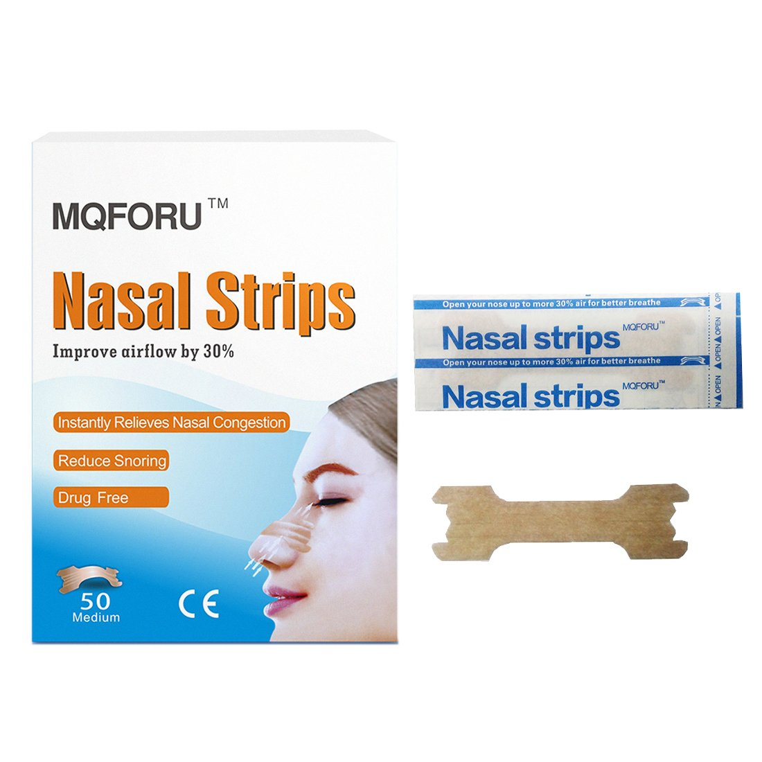 MQFORU 100-Count Better Breath Nasal Strips Medium(55mm*16mm)