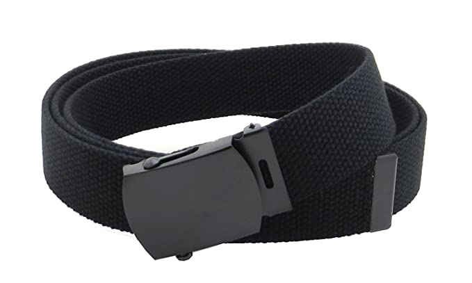 Canvas Web Belt Military Style with Black Buckle and Tip 56 quot  Long Many  Colors ( 65122155e30