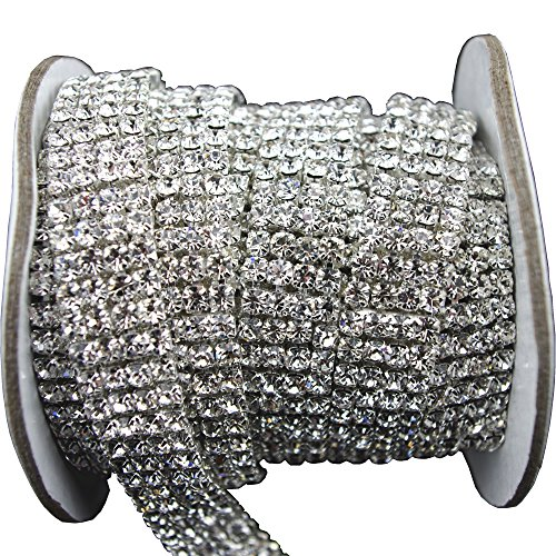 3 FEET 1 Yard 4 Rows SS16 3/5 inches Clear Crystal Close Silver Plated Rhinestone Chain Trims Cup Chain Wedding Cake ()