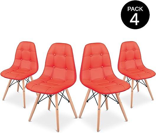 Pack 4 Sillas comedor color Rojo de diseño acolchadas -McHaus ...