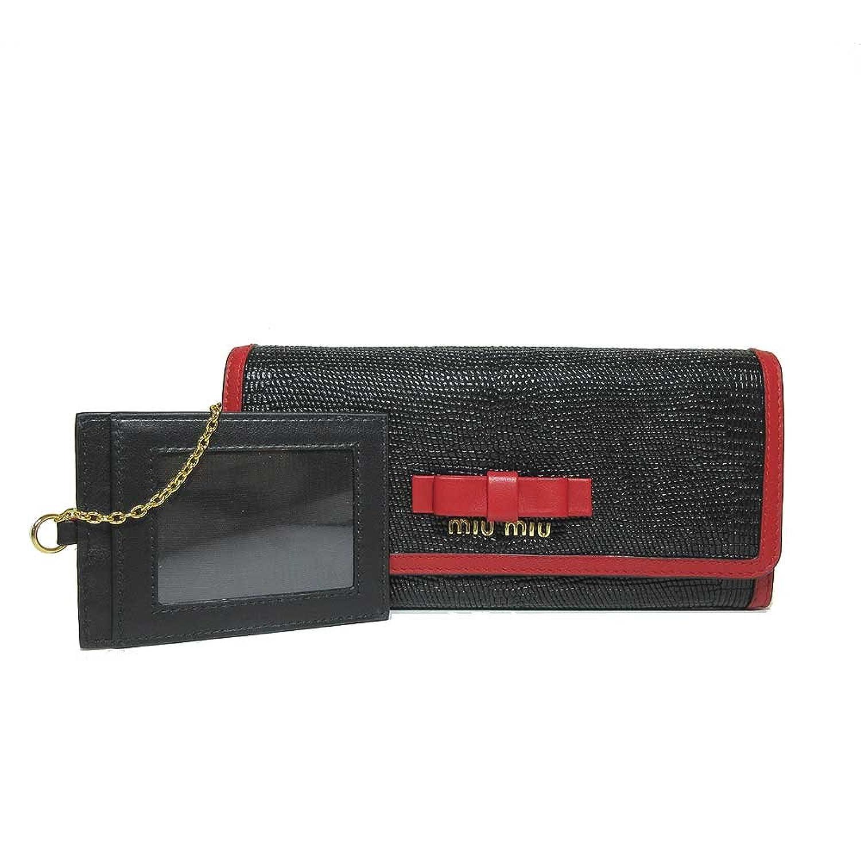 ミュウミュウ miumiu 財布 5MH109 型押しレザー リザード調 パスケース付き 二つ折り長財布 ST.LUCERTOLAFI/NERO+FUOCO 【アウトレット】 [並行輸入品] B07DGW6Q2L