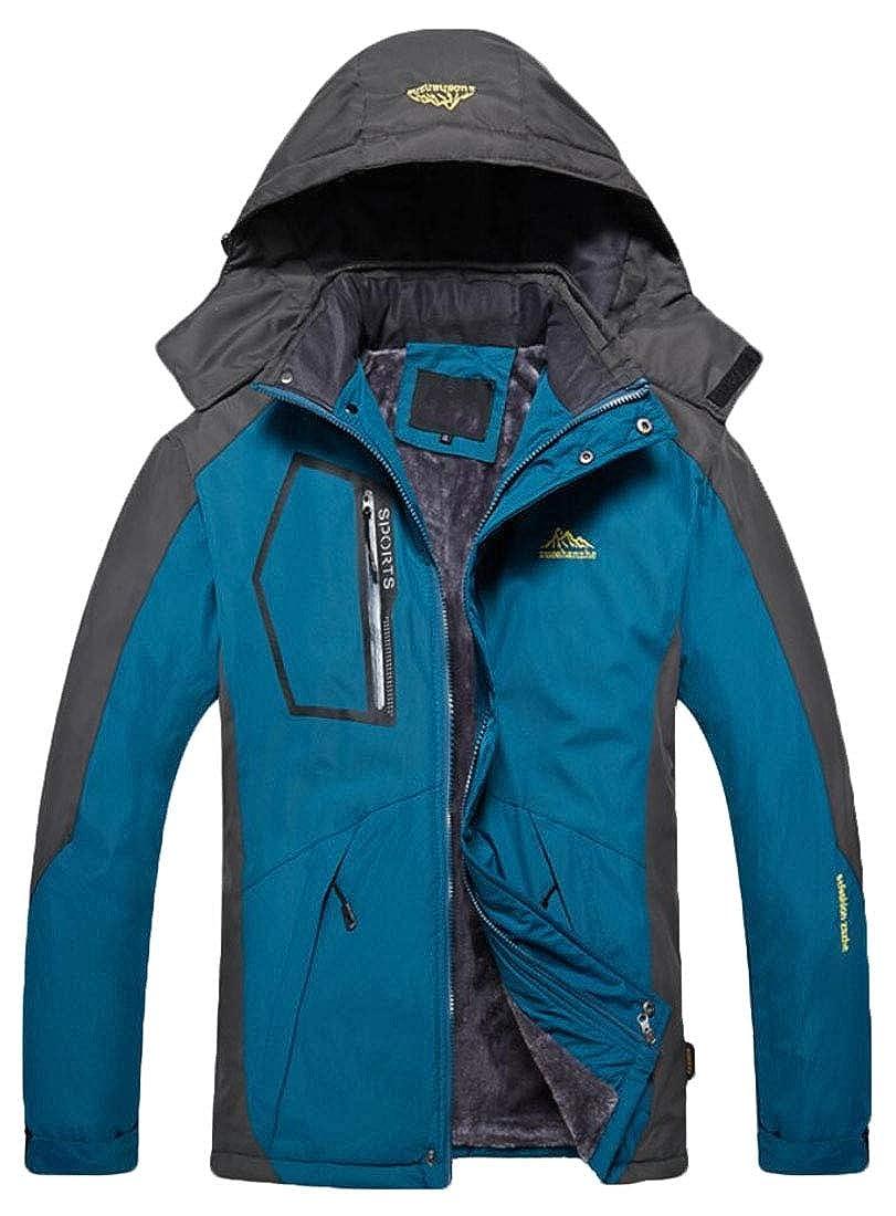 desolateness Mens Casual Waterproof Fleece Outdoor Lightweight Rain Jackets