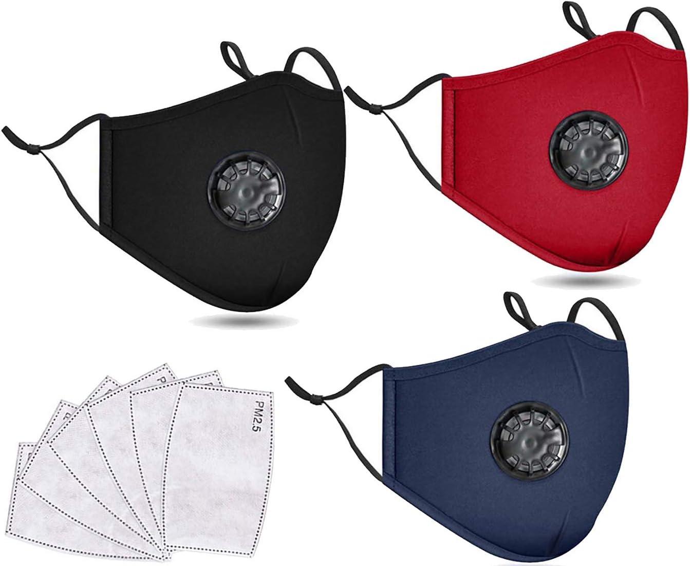 EQOBA 3 Pack Unisex Washable Reusable Cotton Face mask
