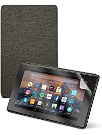 Fire HD 8 Tablet - Black + Amazon Fire HD 8 Tablet Case, Charcoal Black + NuPro Clear Screen Protector