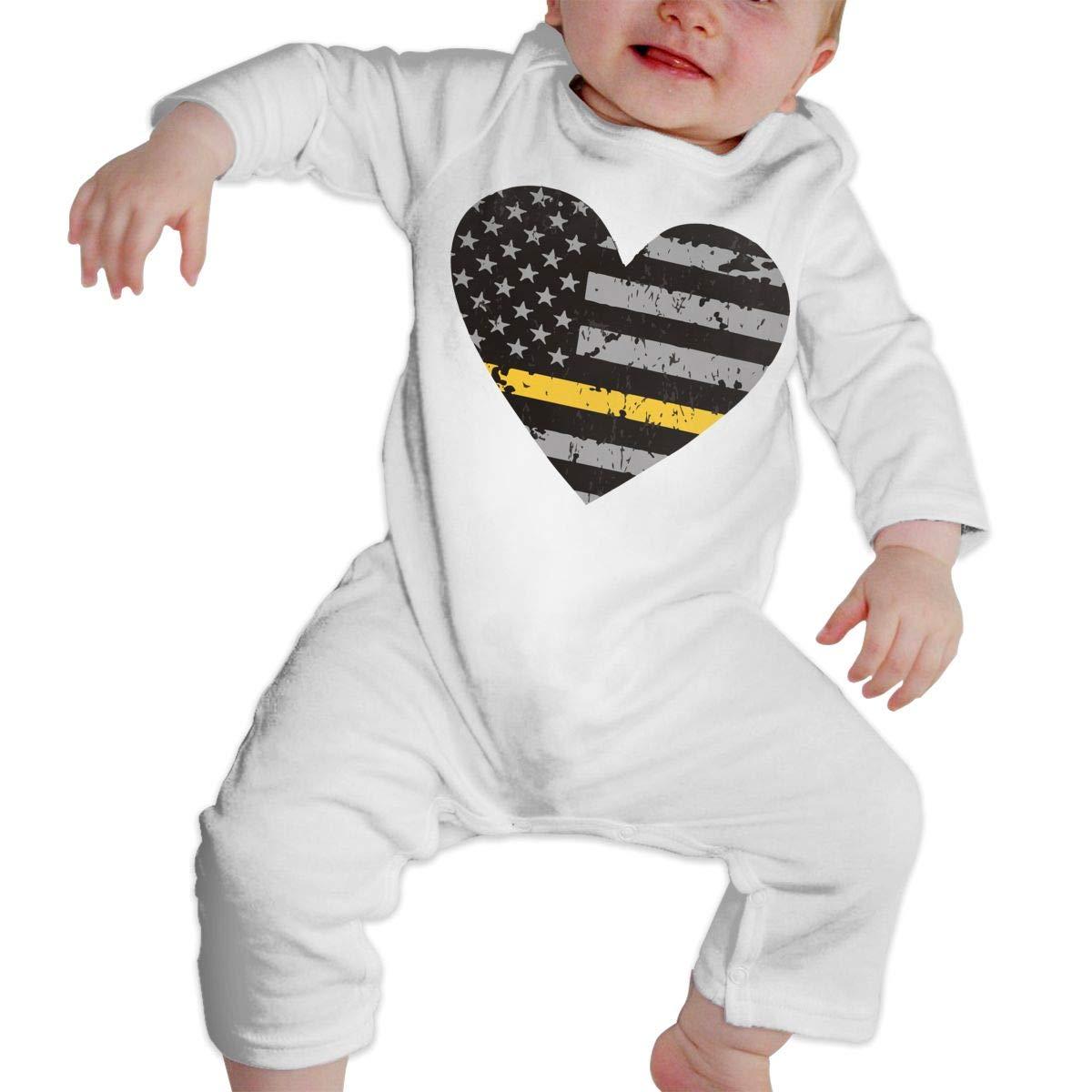 LBJQ8 Thin Gold Line Dispatcher Distressed Flag Heart Infant Baby Boy Girl Sleep and Play Bodysuit Sleepwear