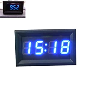 Tonsee Car Motorcycle Accessory 12V/24V Dashboard LED Display Digital Clock(Blue)