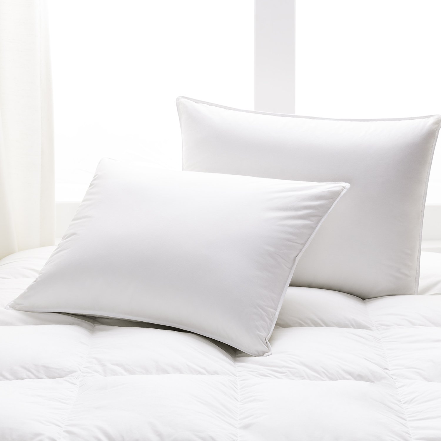 Beckham Hotel Collection White Down Pillow 2-Pack with Long-Staple Cotton Shell - Filled in the USA with RDS Certified, Responsibly Sourced Down - Hypoallergenic - 550 Fill Power - Standard