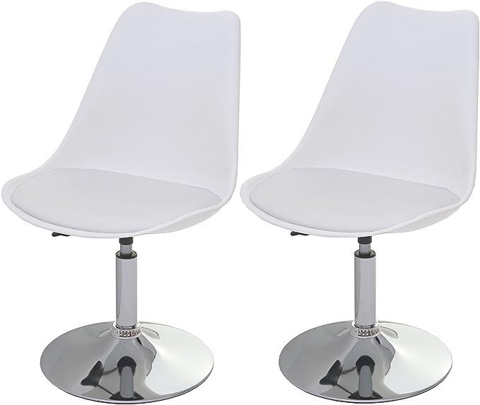 réglable en hauteur 2x chaise pivotante Malmö T501 similicuir ~ blanc