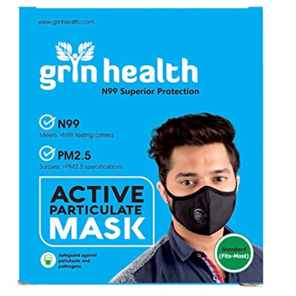 Grin Health N99 Washable Reusable 5 Layers of Filter and Activated Carbon with Valve (XL, Black)