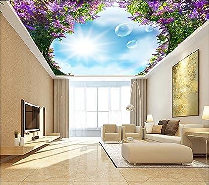Mznm Custom Living Room Hotel Ceiling Photo Wallpaper Mural Modern Fashion  Elegant Wisteria Flower Ceiling 3d