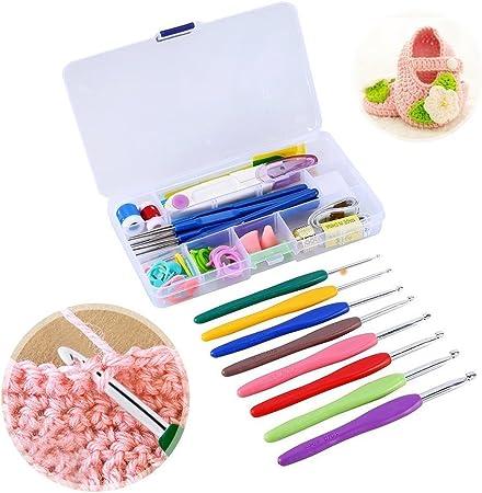 Yosoo - Juego de agujas para tejer (11 unidades), agujas de crochet, estuche de agujas de ganchillo con funda protectora: Amazon.es: Hogar