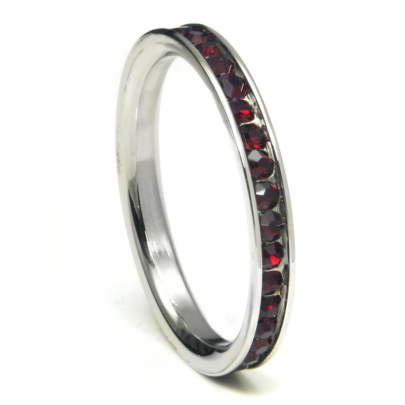 316L Stainless Steel Maroon Cubic Zirconia CZ Eternity Wedding 3MM Band Ring Sz 9