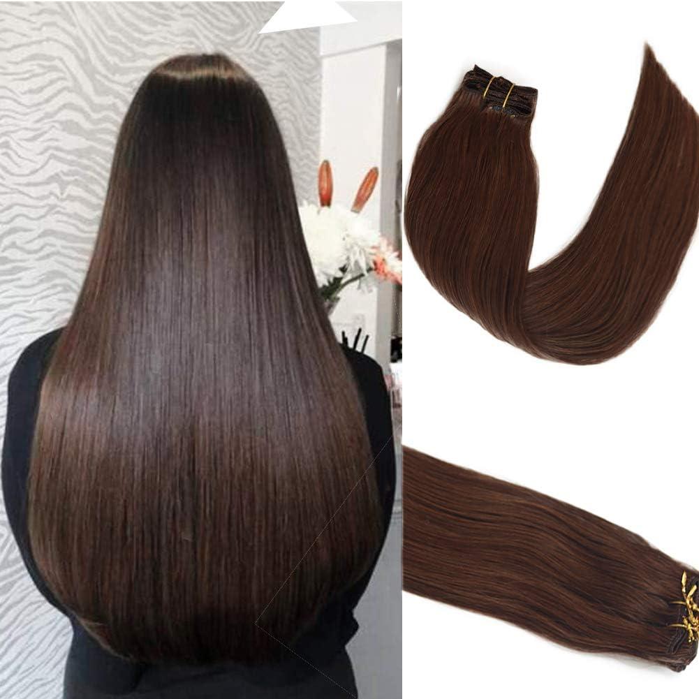 Myfashionhair Clip en extensiones de cabello Extensiones de cabello humano real Medium Brown 18in 70g 7 Piezas Seda Remy sedosa Cabello