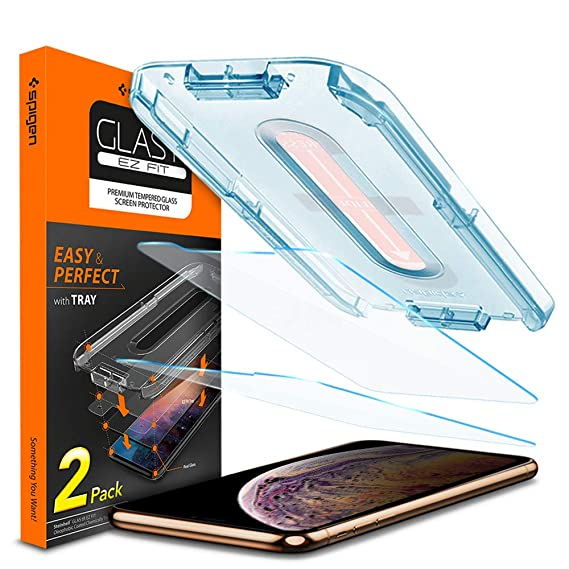 brand new fd9a9 f446c Spigen Tempered Glass Screen Protector [Installation Kit] Designed for  iPhone Xs Max (2 Pack)