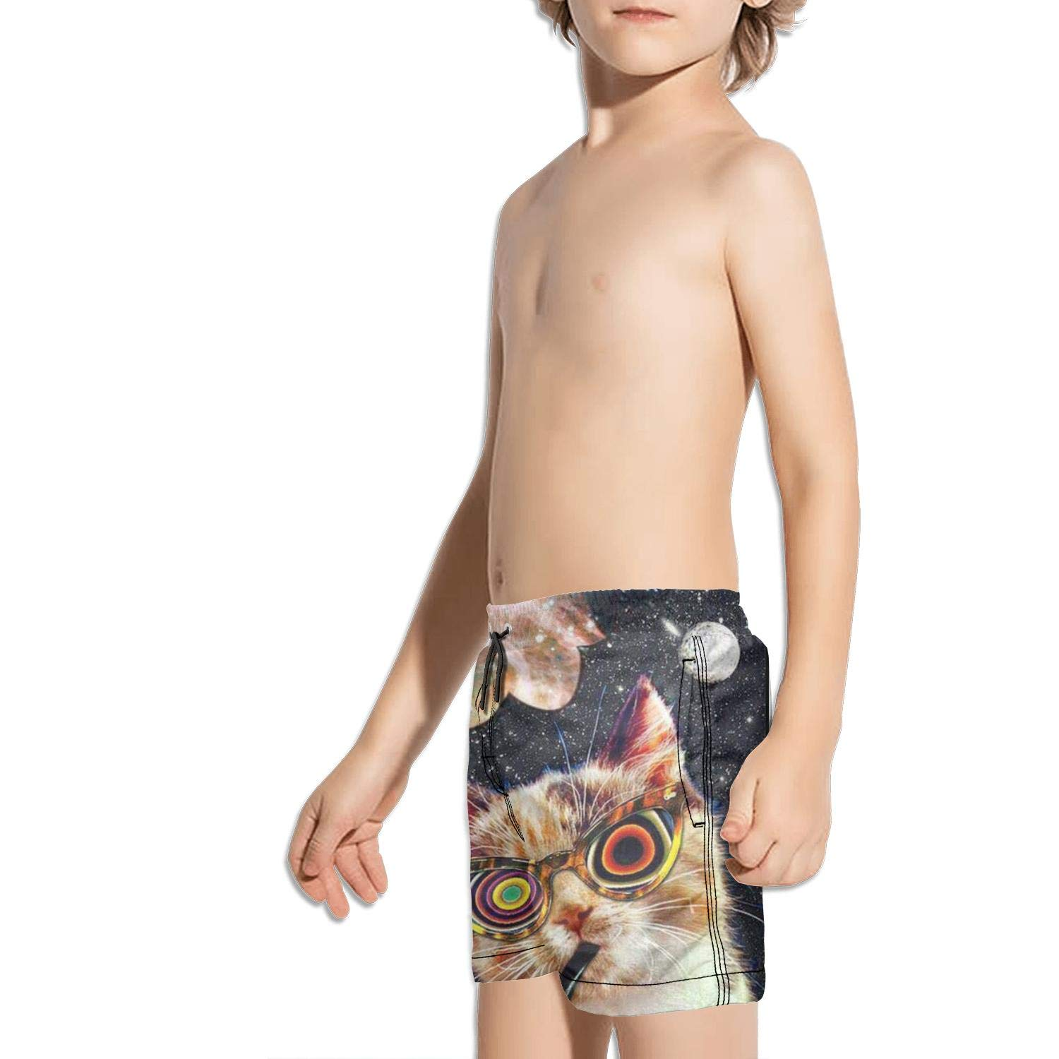 Laser cat Space Boys Girls Swimming Trunks Beach Board Shorts Ruched Quick Dry Vintage Tropical Kids Short Pants