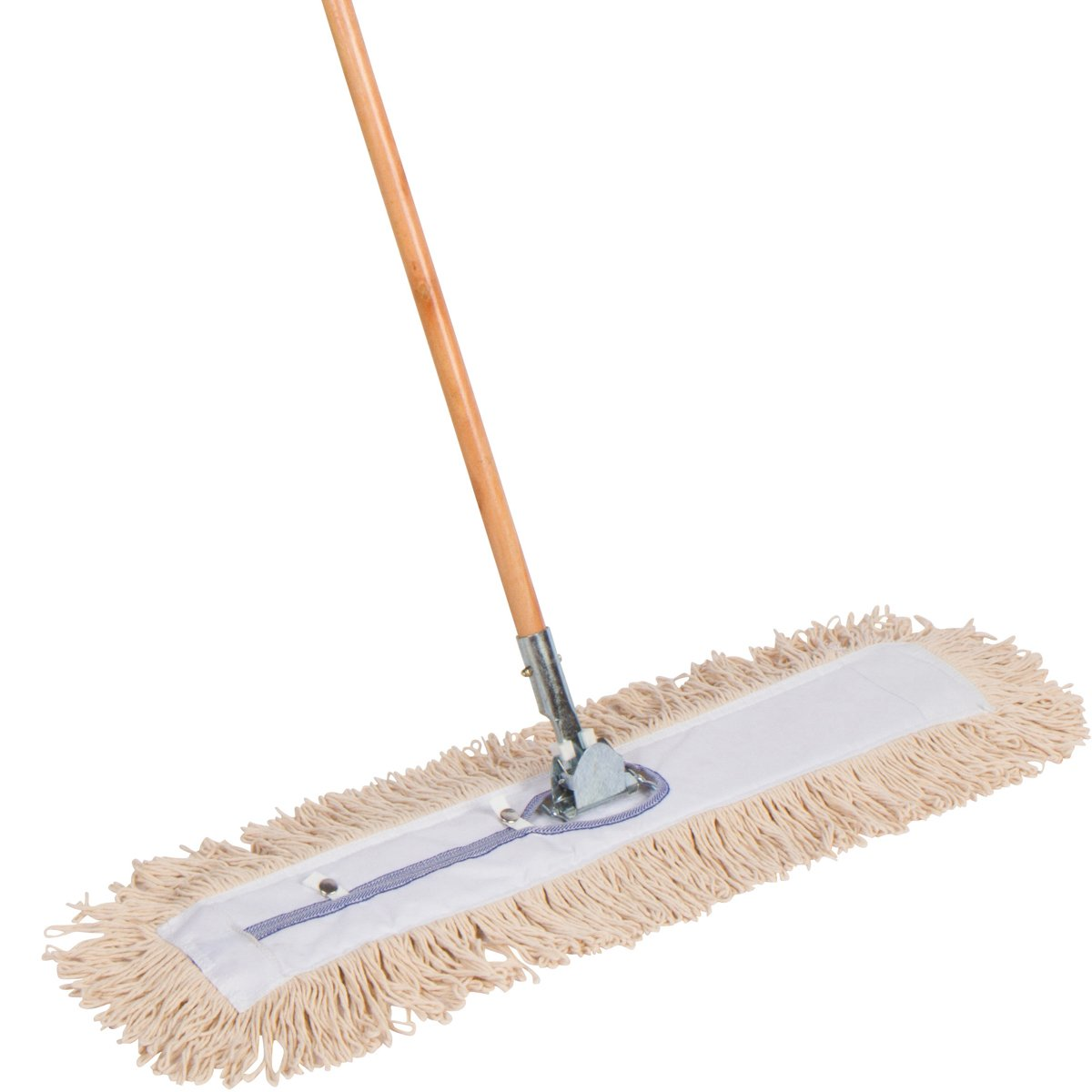 American Market Commercial Strength Cotton Dust Mop With Solid 63'' Wood Handle and Metal Frame. 30'' X 5'' Wide Mop Head with Looped Ends - Hardwood Floor Broom