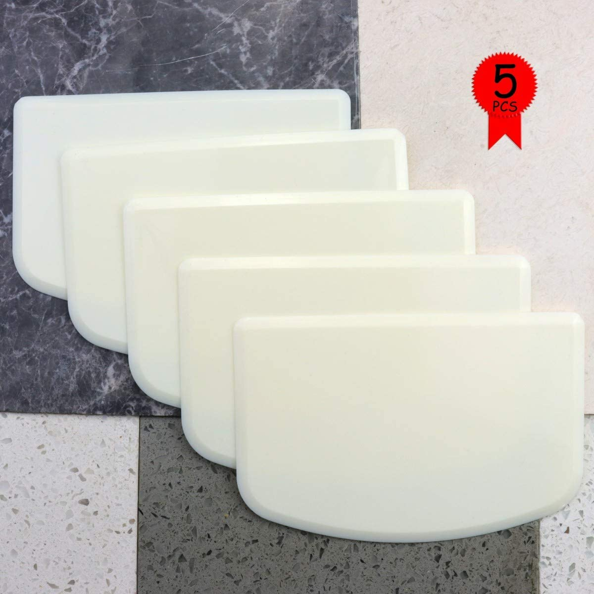 YG_Oline 6 Pcs Food-Grade White Dough Bowl Scraper, Multipurpose Hard Plastic Kitchen Dish Scraper, Smooth Edge Kit for Kitchen-Pizza, Dough, Cake, Pastry