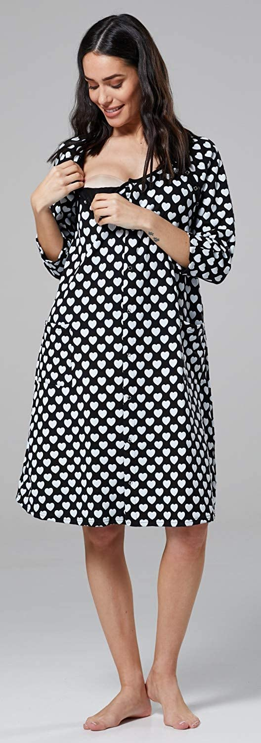 Womens Maternity Labor Delivery Hospital Gown Breastfeeding.637p HAPPY MAMA