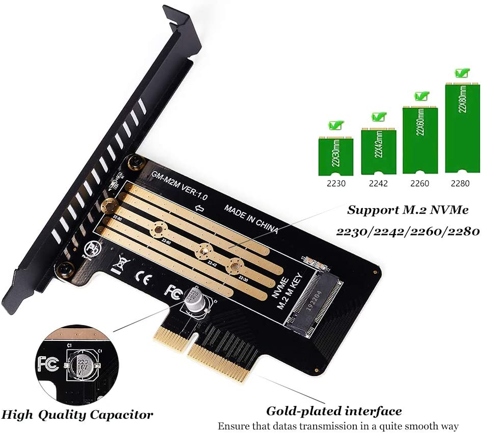 2280 2260 2242 2230 to PCIe 3.0 x 4 Adapter Host Controller Expansion Card Low Profile Bracket for Motherboard PCI Express Speedbyte M.2 PCIe Adapter with M2 SSD Fan Cooler Heatsink M Key M2 NVME