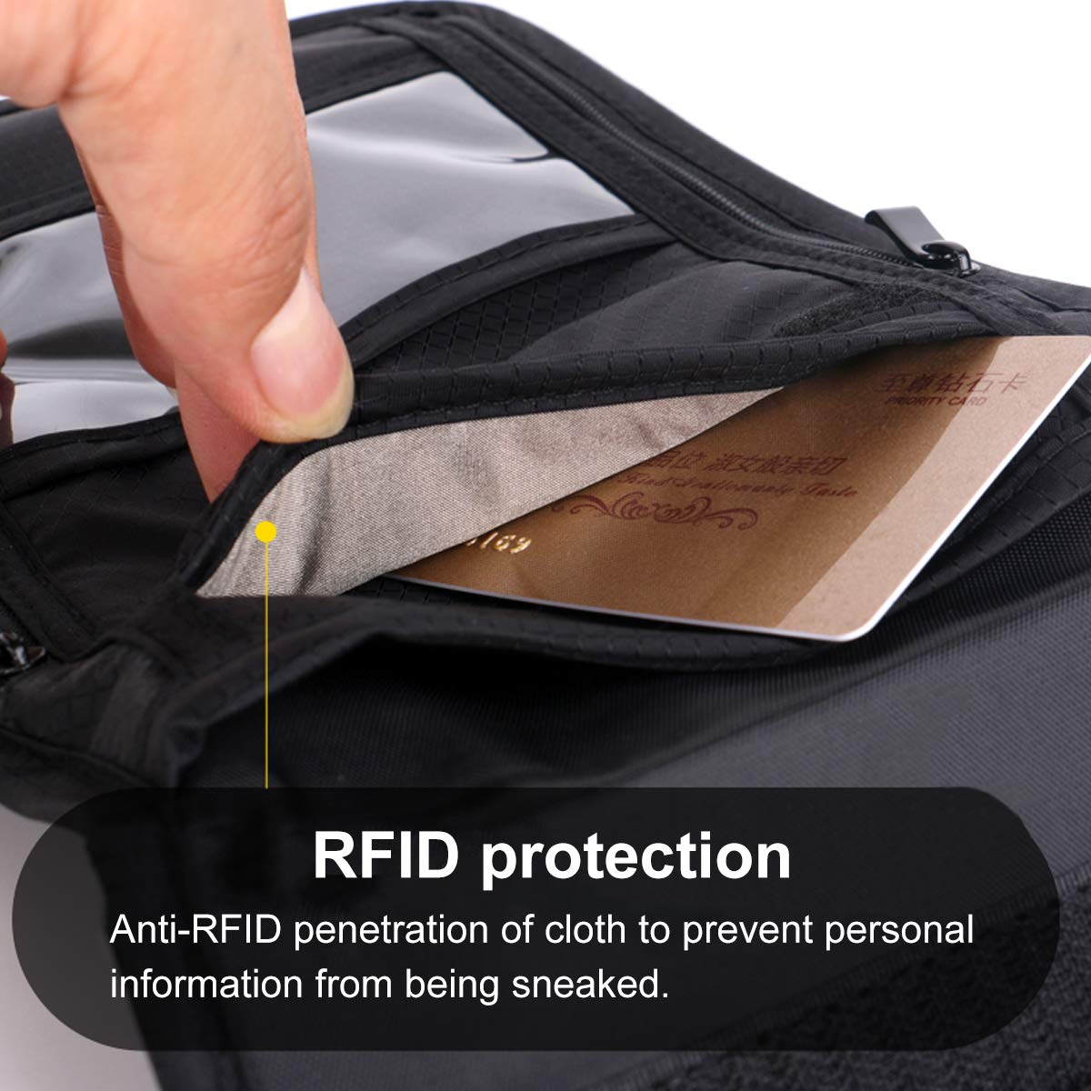 Passport Travel Stash Pouch-Passport Holder Travel Neck Pouch Neck Wallet Stash with RFID Blocking