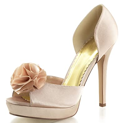 420500379f0c Summitfashions Womens Champagne Wedding Shoes D Orsay Pumps Peep Toe Shoes  4 3 4