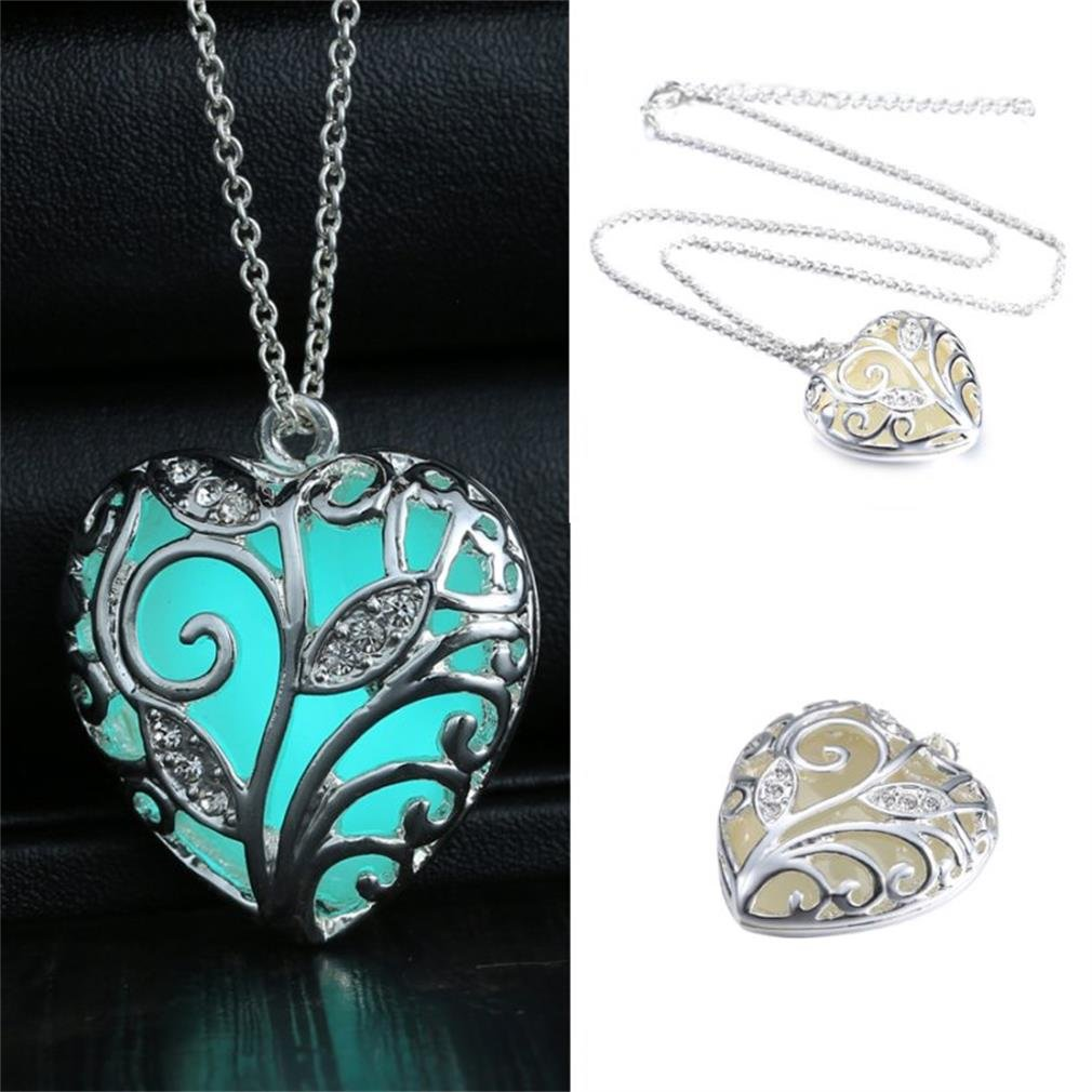 Rinhoo Steampunk Magical Fairy Glow in The Dark Heart Charms Pendant Necklace White Gold Plated RINHOO Jewelry 150N35-3