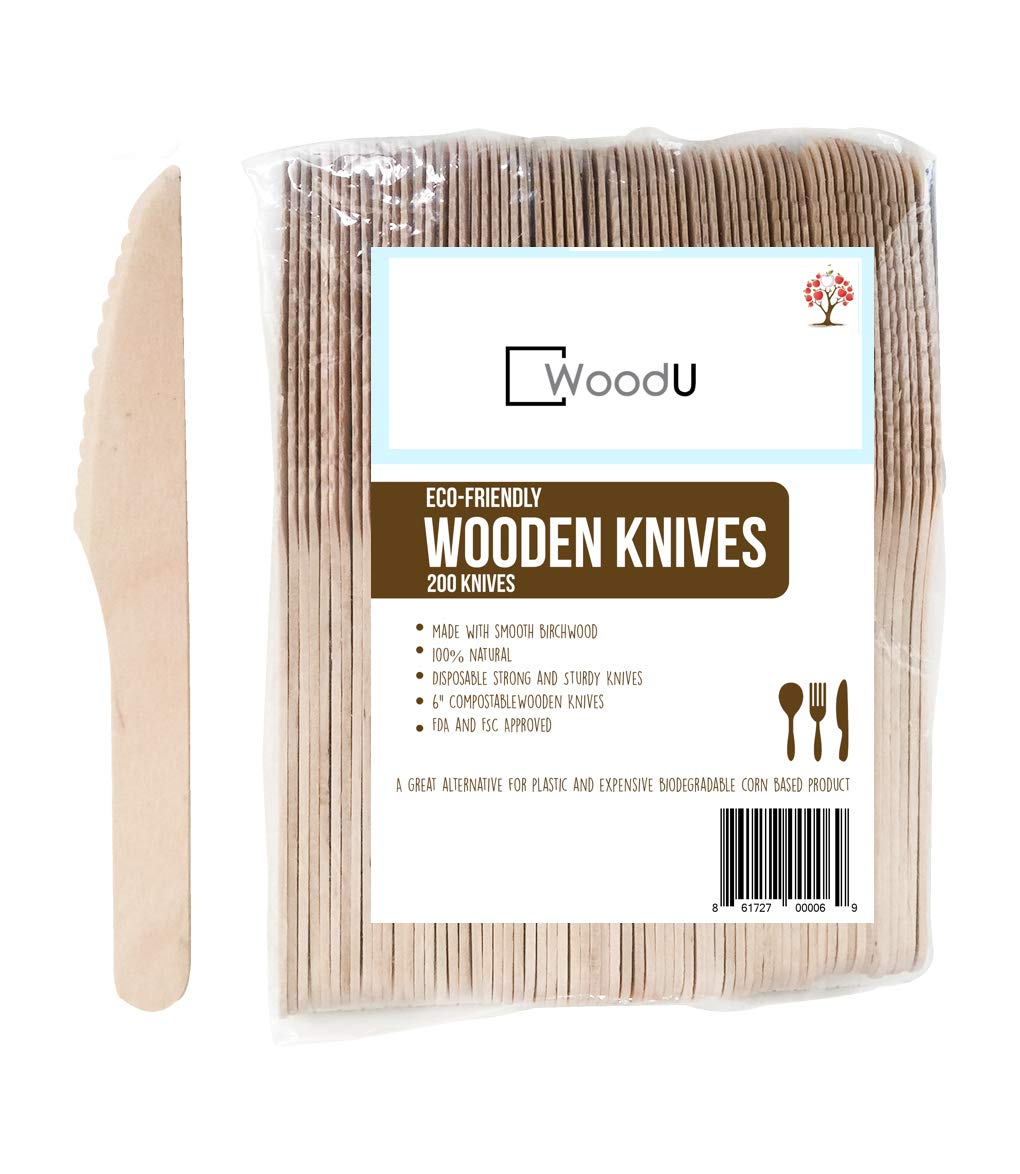 WoodU Disposable Wooden Knives Natural Birch Wood Biodegradable Knife Utensils Cutlery Eco-Friendly Green (200 pack)