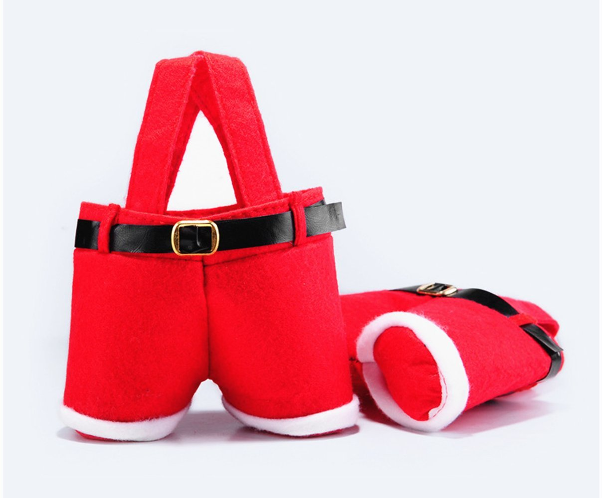 Red Felt Suspender Santa Claus Pants with Black Vinyl Belt and Faux Fur Cuffs