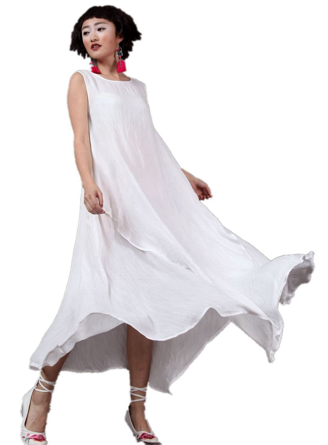 Women's Linen Vintage Sleeveless A Line Kaftan Long Beach Party Dress (M, 04-White)