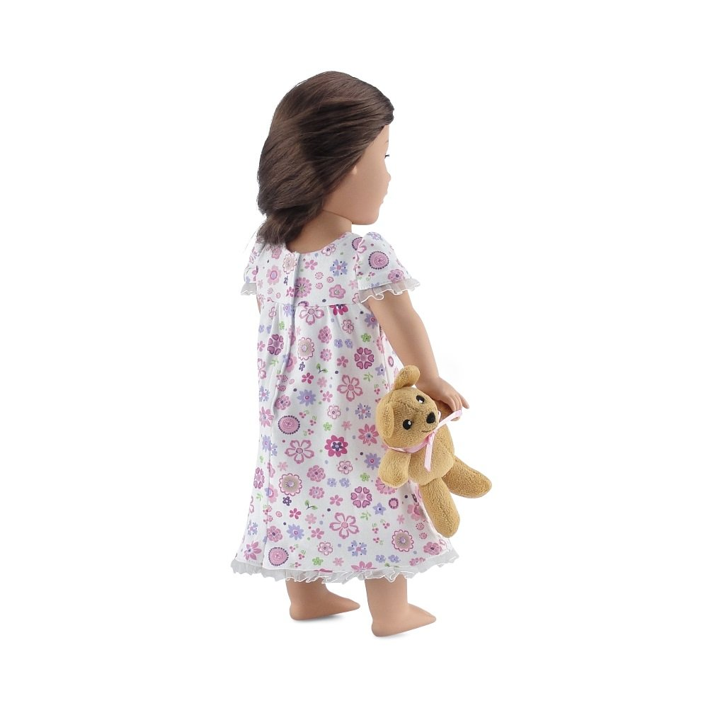 Fits American Girl Dolls Emily Rose Doll Clothes 18 Inch Doll Clothes Lovely Ruffled Pink Floral Nightgown PJs with Teddy Bear