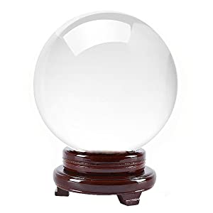 Amlong Crystal Clear Crystal Ball 130mm (5 in.) Including Wooden Stand and Gift Package