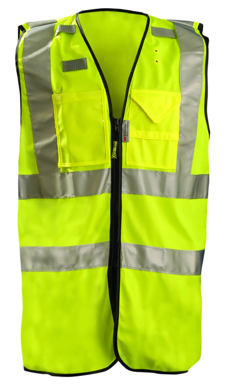 CONDOR 1YAH6 Safety Vest, Class 2, XXXXL, Zipper, Lime by PTP SUPPLY B001H4NZLE