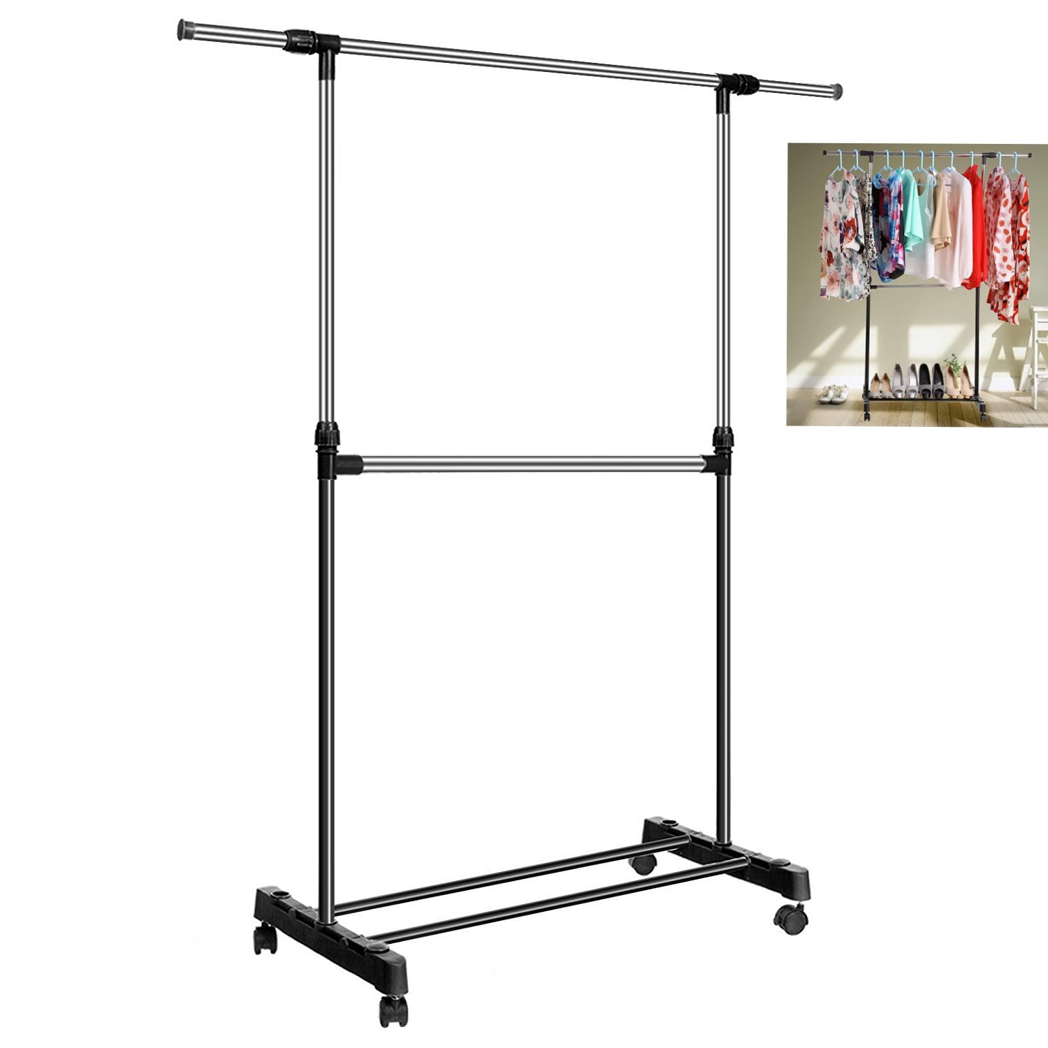 Fashine Stainless Steel Adjustable Telescopic Garment Drying Rack with 4 360 degree wheels [US Stock]
