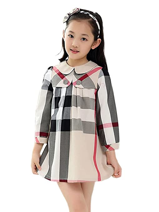 Kids 1950s Clothing & Costumes: Girls, Boys, Toddlers MIQI Girls Plaid Dress Sleeveless Swing Dresses Casual Tutu Sundress $32.99 AT vintagedancer.com